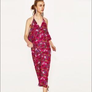 Zara Pants - Zara Floral Flowy Long Halter Flounce Jumpsuit